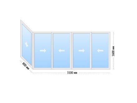 Алюминиевые окна на балкон раздвижные - цена II-18 Г-образный