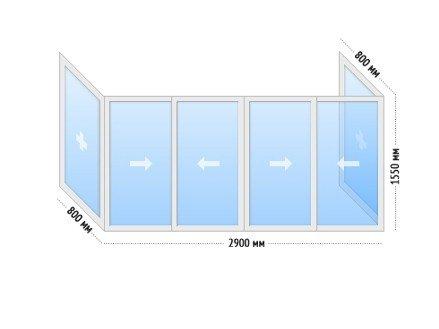 Алюминиевые окна на балкон раздвижные - цена КОПЭ П-образный