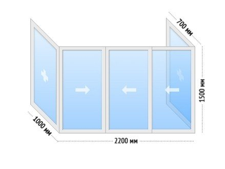 Алюминиевые окна на балкон раздвижные - цена П-3 П-образный