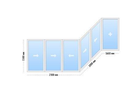 Алюминиевые окна на балкон раздвижные - цена П-44 сапожок