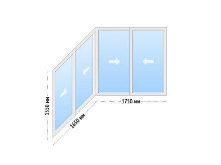 Алюминиевые окна на балкон раздвижные - цена П-44т