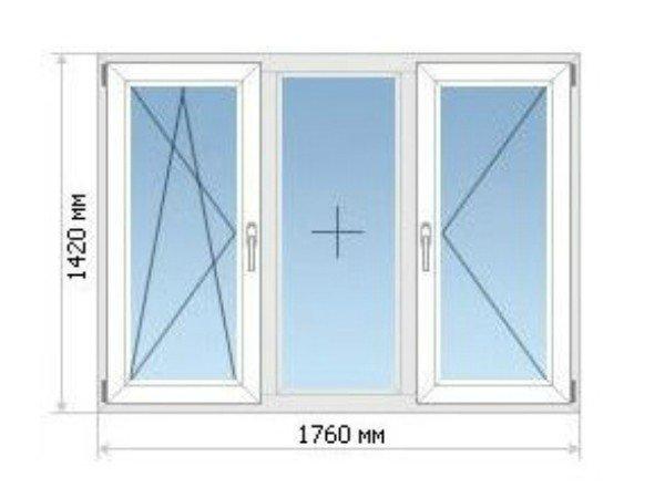 Окно П44 три створки
