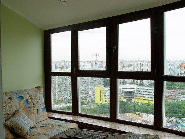 Ламинированные окна в пол