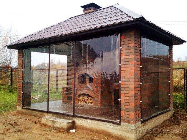 Окна для беседок ПВХ с камином