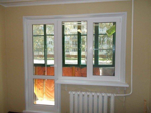 Стеклопакеты для окна с пластиковой балконной дверью