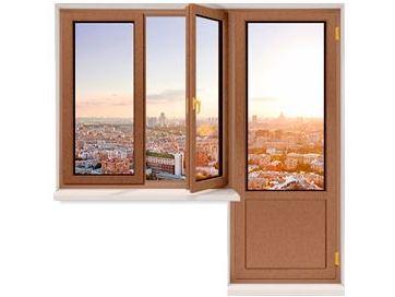 Балконный блок из сосны со стеклопакетом