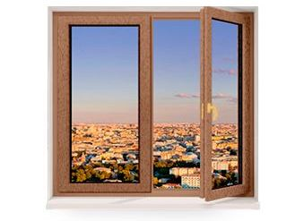 Двухстворчатое окно из сосны со стеклопакетом