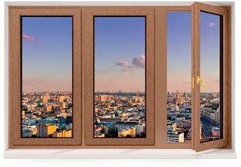 Трехстворчатое окно из сосны со стеклопакетом