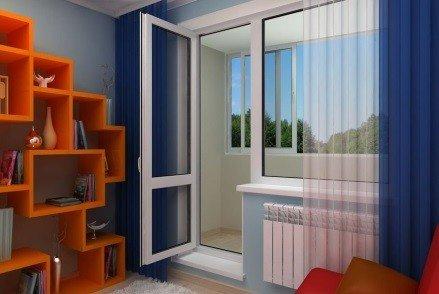 Прозрачная дверь с перемычкой