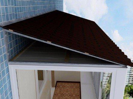Монтаж крыши на балконах последних этажей