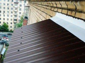 Крыша на балкон профлист