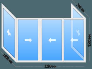 Окна на П-образный балкон