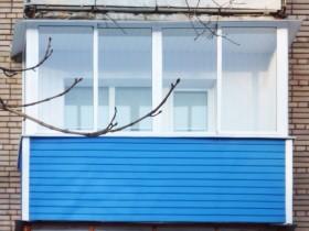 Внешняя отделка балкона синий сайдинг
