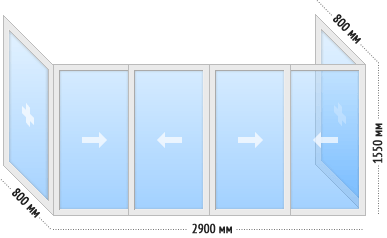 Остекление КОПЭ балкона П-образного