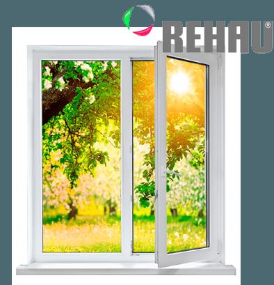 Двустворчатое пластиковое окно Рехау