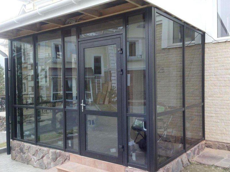 двери входные из алюминиевого профиля под ключ-премиум